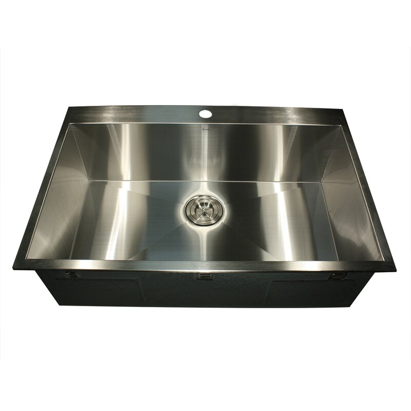 Pro Series 33  L x 22  W Rectangle Single Hole Topmount Stainless Steel  Kitchen. Nantucket Sinks Pro Series 33  L x 22  W Rectangle Single Hole