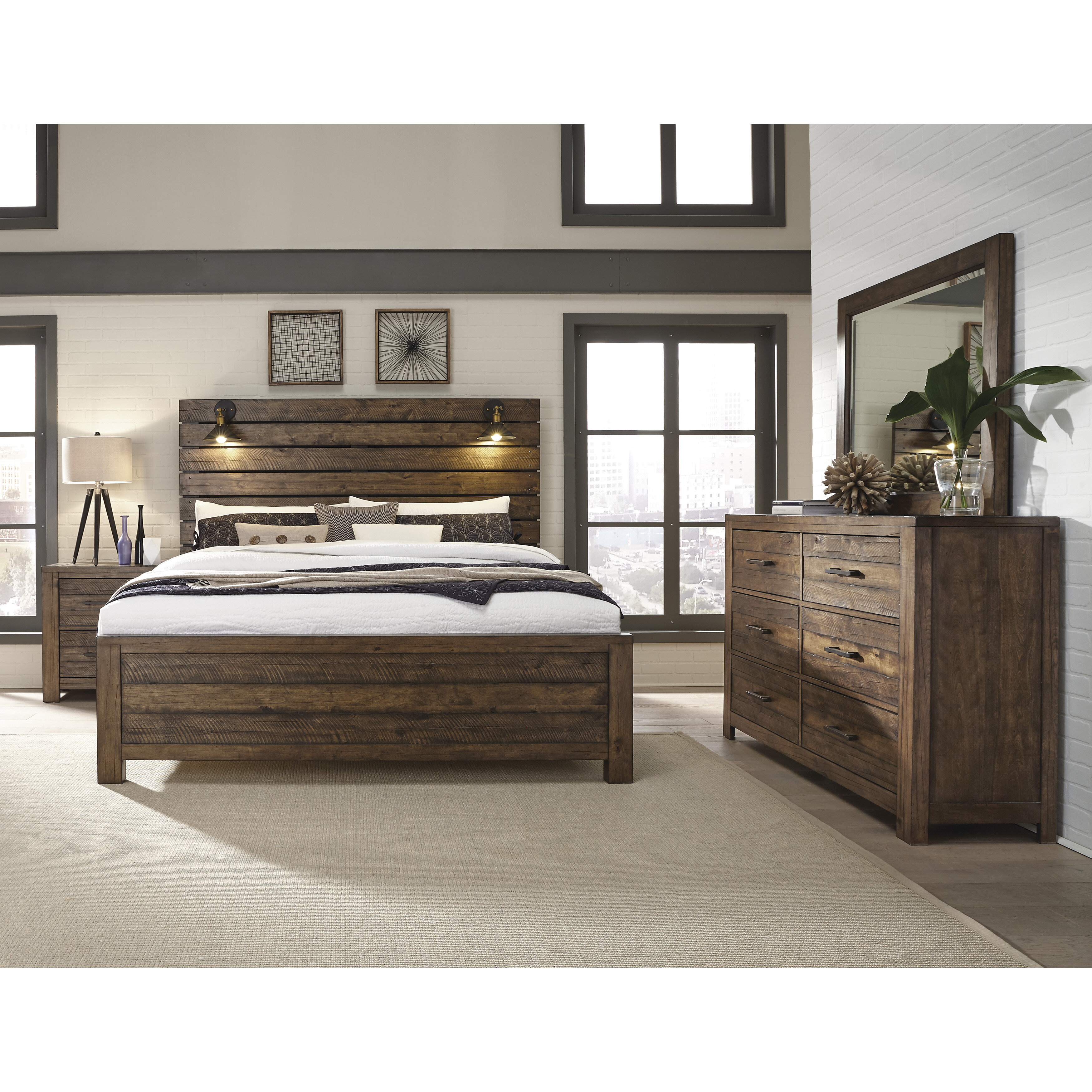 Emst Solid Wood Rustic 8 Piece Bedroom Set