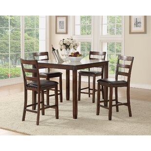 Climsland 5 Piece Counter Height Solid Wood Dining Set