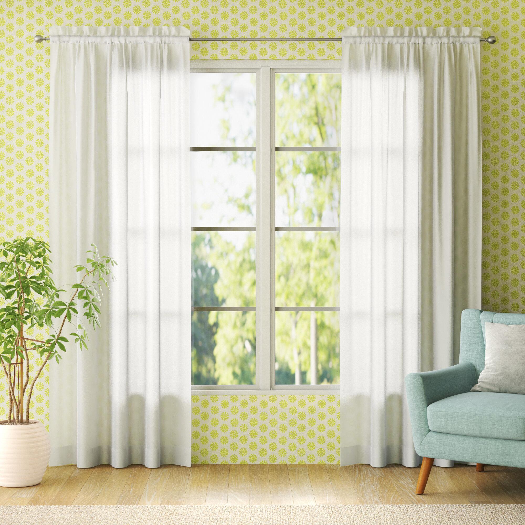 Wayfair Basics Solid Sheer Rod Pocket Curtain Panels Reviews Wayfair