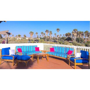 Trijaya Living Waterford 7 Piece Teak Sunbrella Sofa Set with Cushions