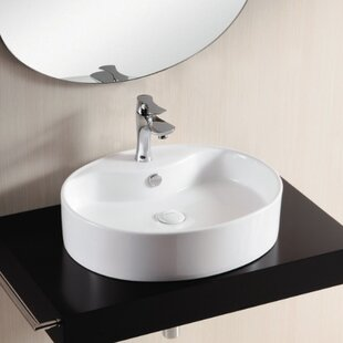 Ceramica II Ceramic Oval Vessel Bathroom Sink with Overflow Caracalla