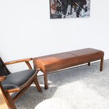 Guiterrez Wood Leather Bench by Union Rustic