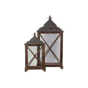Home and Garden Accents 2 Piece Wooden Lantern Set
