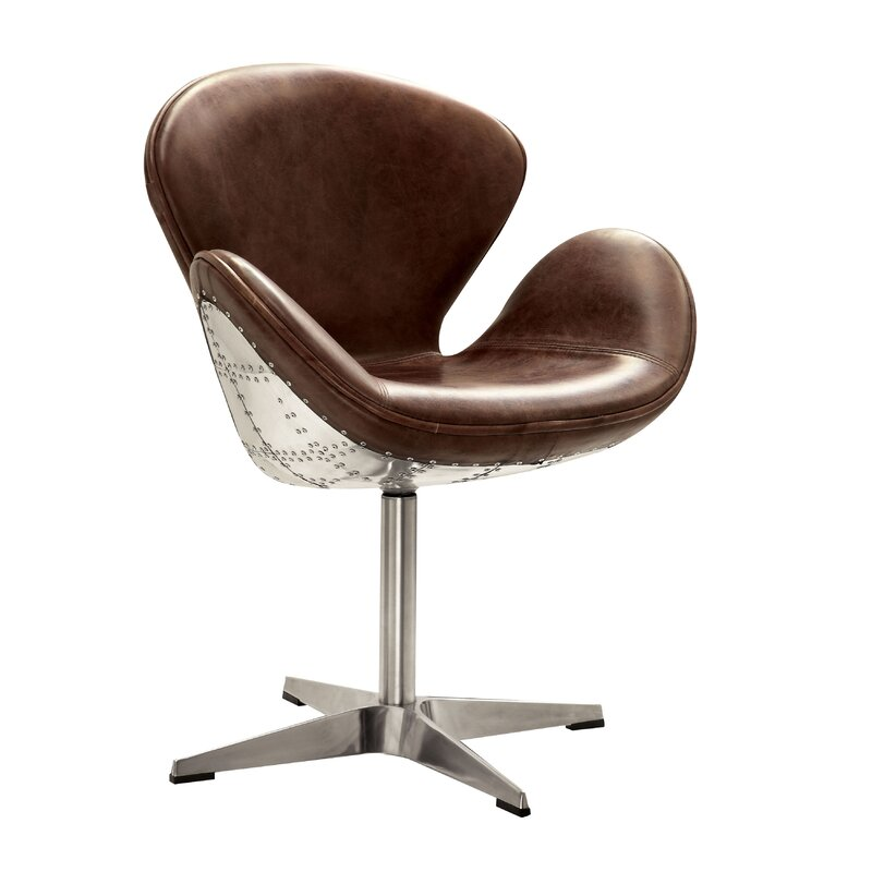 Annessia Top Grain Leather Swivel Armchair