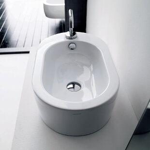 Affordable Flo Ceramic Ceramic U-Shaped Vessel Bathroom Sink with Overflow ByWS Bath Collections