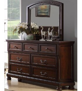 A&J Homes Studio Carnell 7 Drawer Double Dresser with Mirror