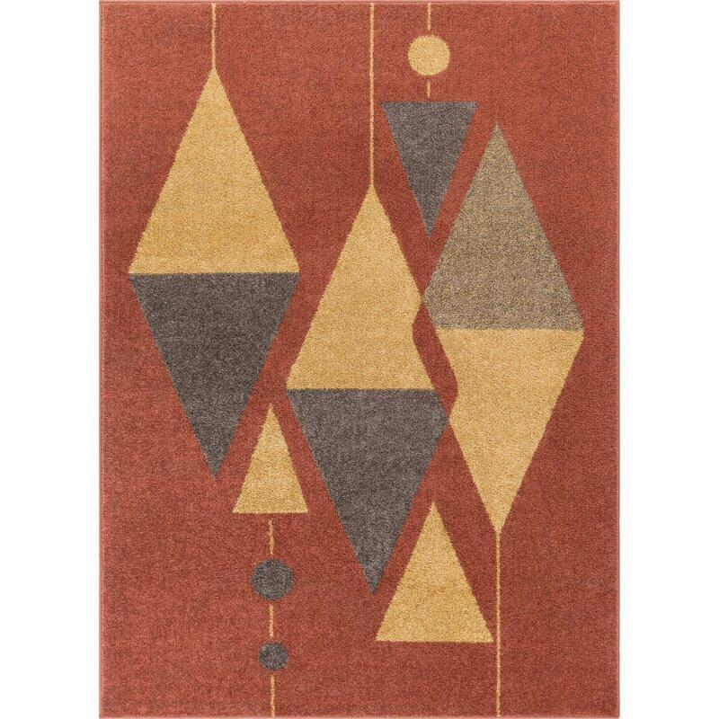 Well Woven Mystic Scarlett Modern Vintage Geometric Red Area Rug