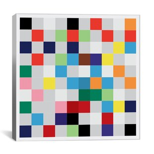 'Modern 'Pixilated Tile Colorful Square Pattern' Canvas Art