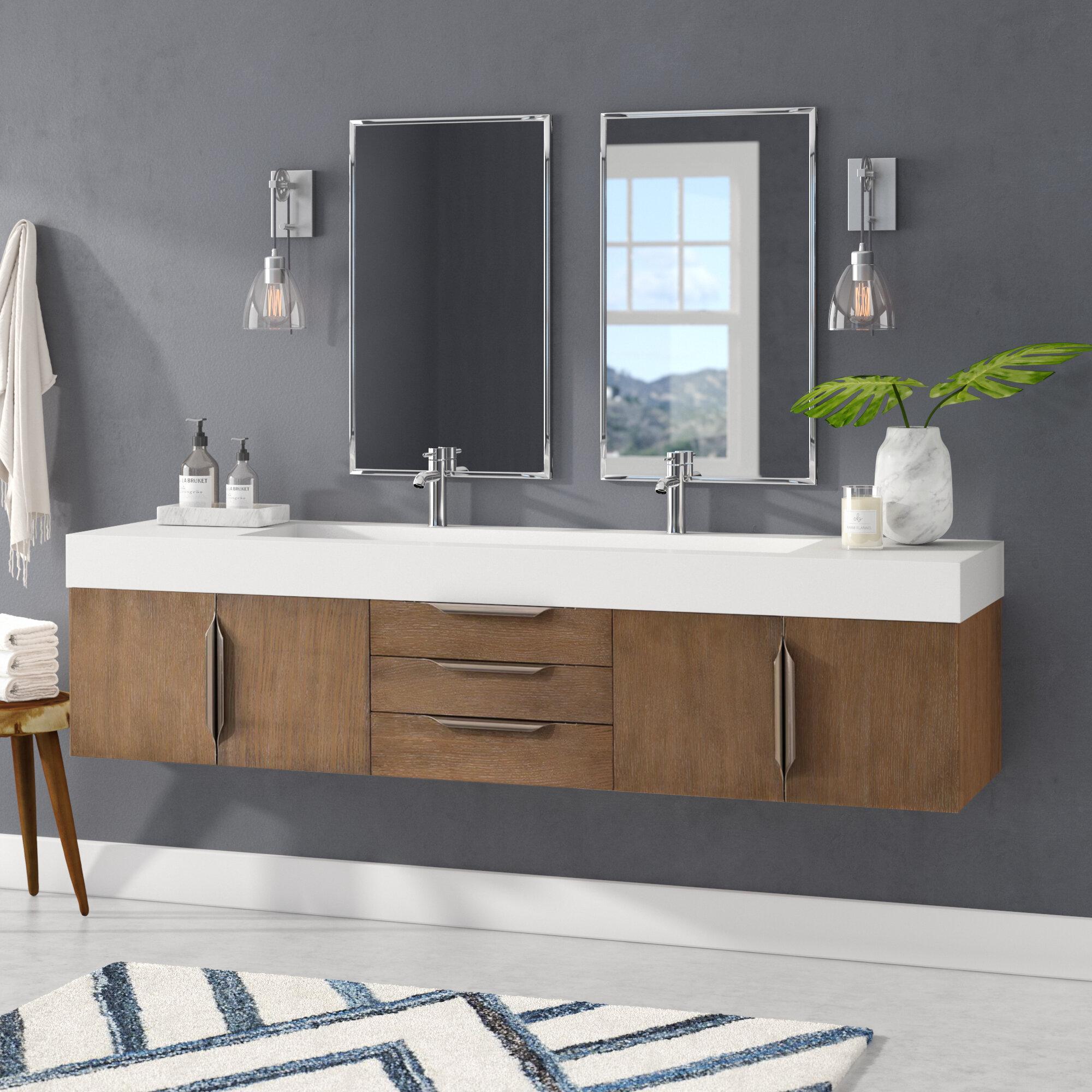 Brayden Studio Hukill 72 Wall Mounted Double Bathroom Vanity Set Reviews Wayfair