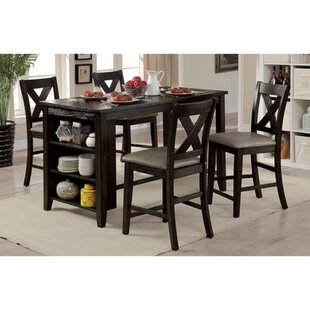 Dugas Rustic 5 Piece Pub Solid Wood Dining Set New Design