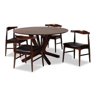 Southard Mid-Century Modern Upholstered 5 Piece Dining Set