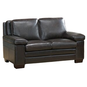 Devry Leather Loveseat by World Menagerie