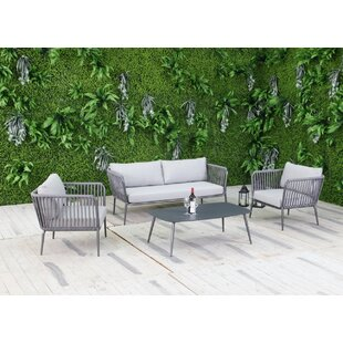 Bungalow Rose Elsie 4 Piece Sofa Set with Cushions