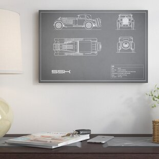 'Mercedes-Benz SSK' Graphic Art Print on Canvas in Gray By East Urban Home