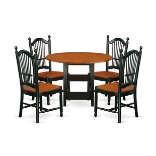 Tyshawn 5 Piece Drop Leaf Breakfast Nook Solid Wood Dining Set by Charlton Home Modern