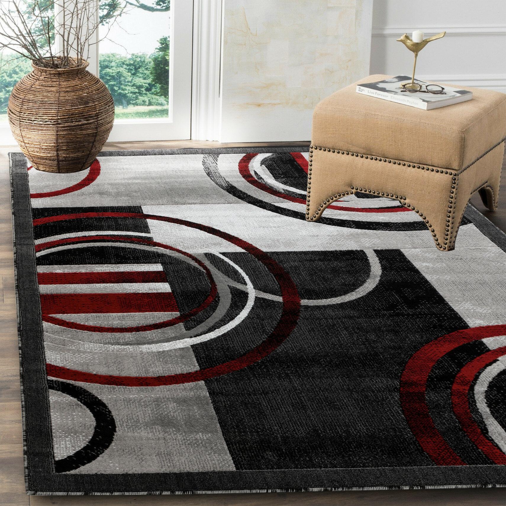 Orren Ellis Delana Abstract Gray Red Black Area Rug Reviews Wayfair