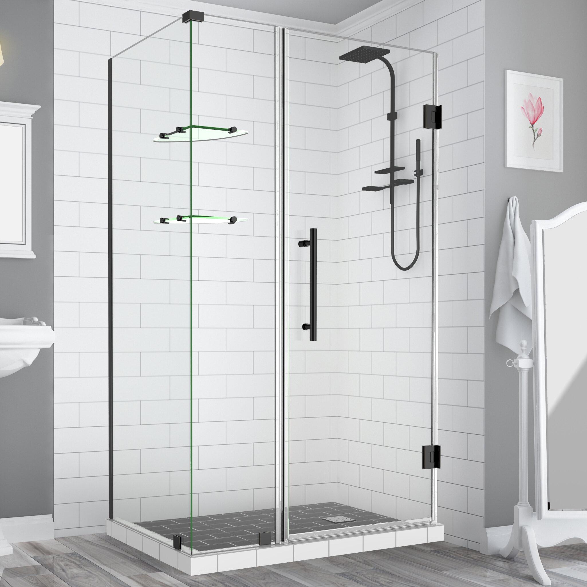 Aston Bromley Gs Frameless 50 25 X 72 Rectangle Hinged Shower Enclosure With Glass Shelves Wayfair