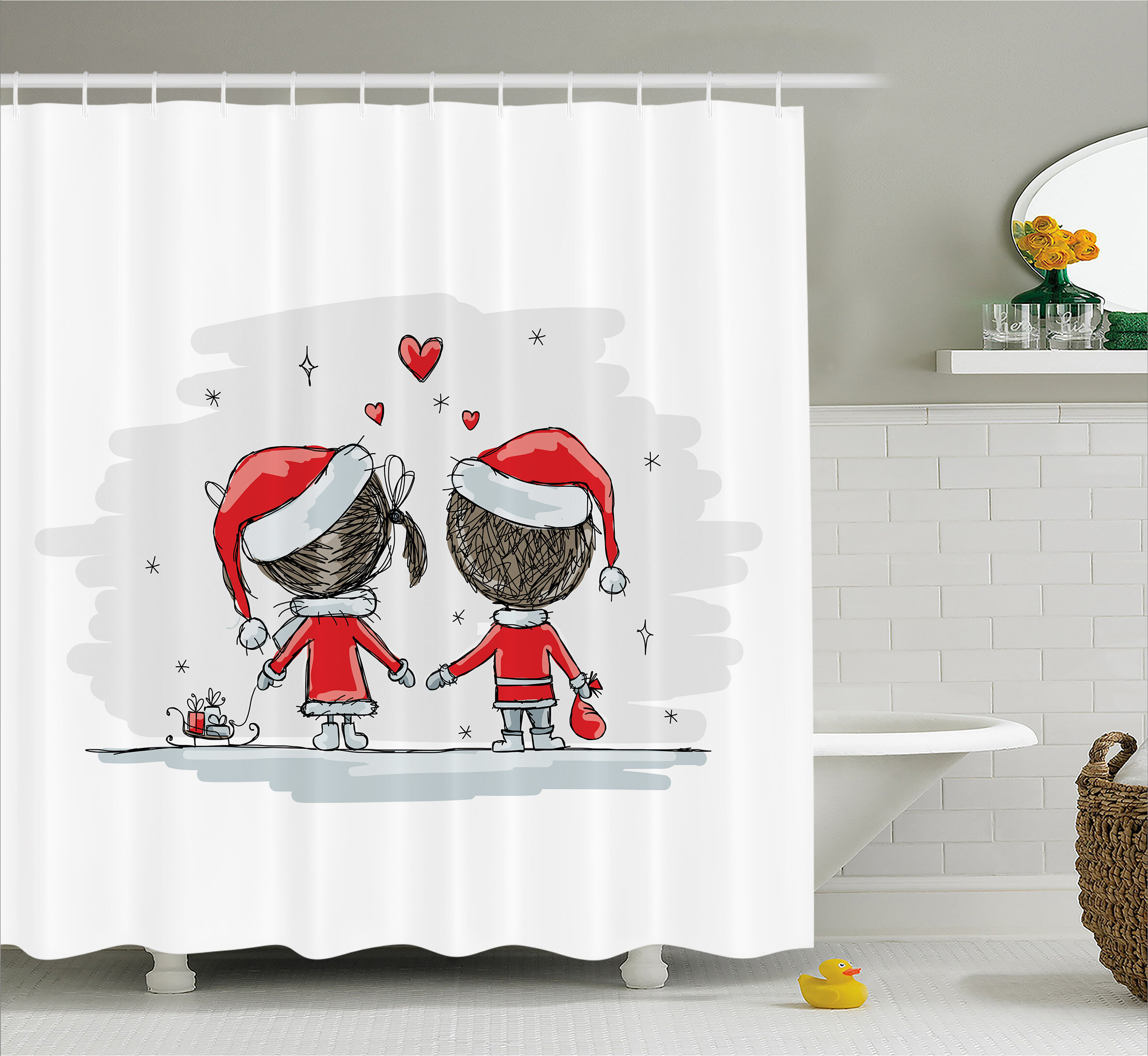 Christmas Kids Santa Costumes Shower Curtain Hooks
