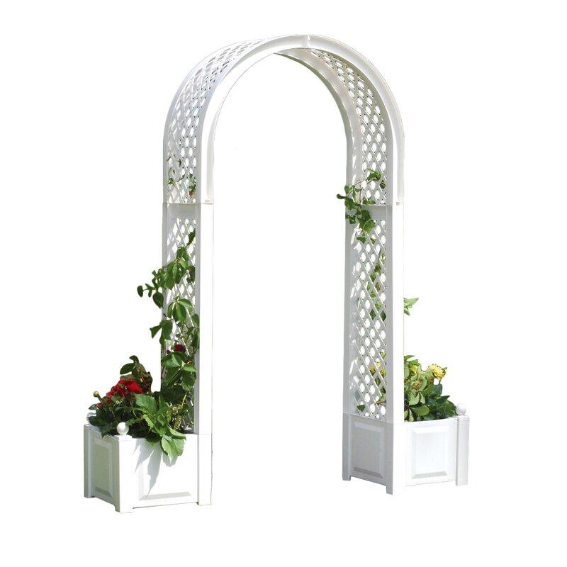White Tamarac Arch With Planters Outdoor Garden Furniture