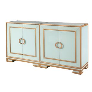 Ledesma Reverse Painted Glass 4 Door Accent Cabinet