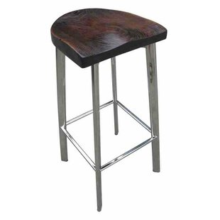 Fiona Rustic Wood 32 Bar Stool Brayden Studio