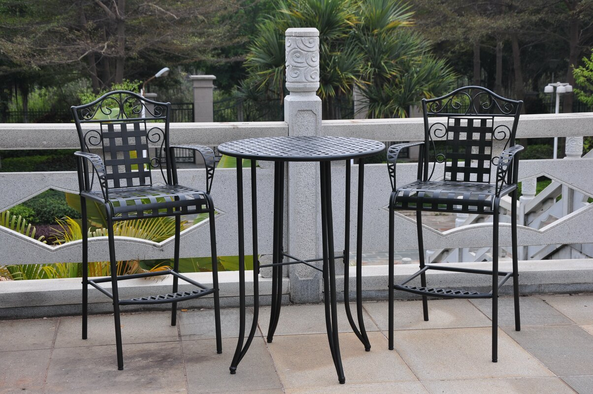 Snowberry 3 Piece Wrought Iron Bar Height Bistro Patio Set