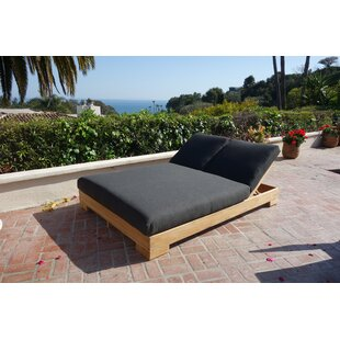 Freistatt Double Reclining Teak Chaise Lounge with Cushion