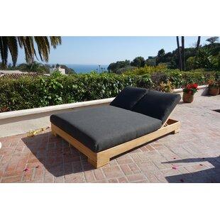 Freistatt Double Reclining Teak Chaise Lounge with Cushion by Brayden Studio