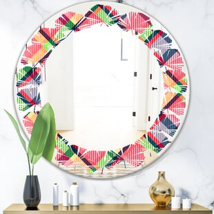Tartan Texture I Leaves Cottage Americana Frameless Wall Mirror by East Urban Home