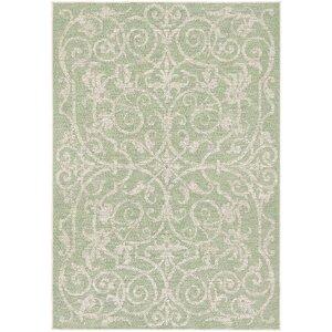 Arnegard Ivory/Light Green Indoor/Outdoor Area Rug