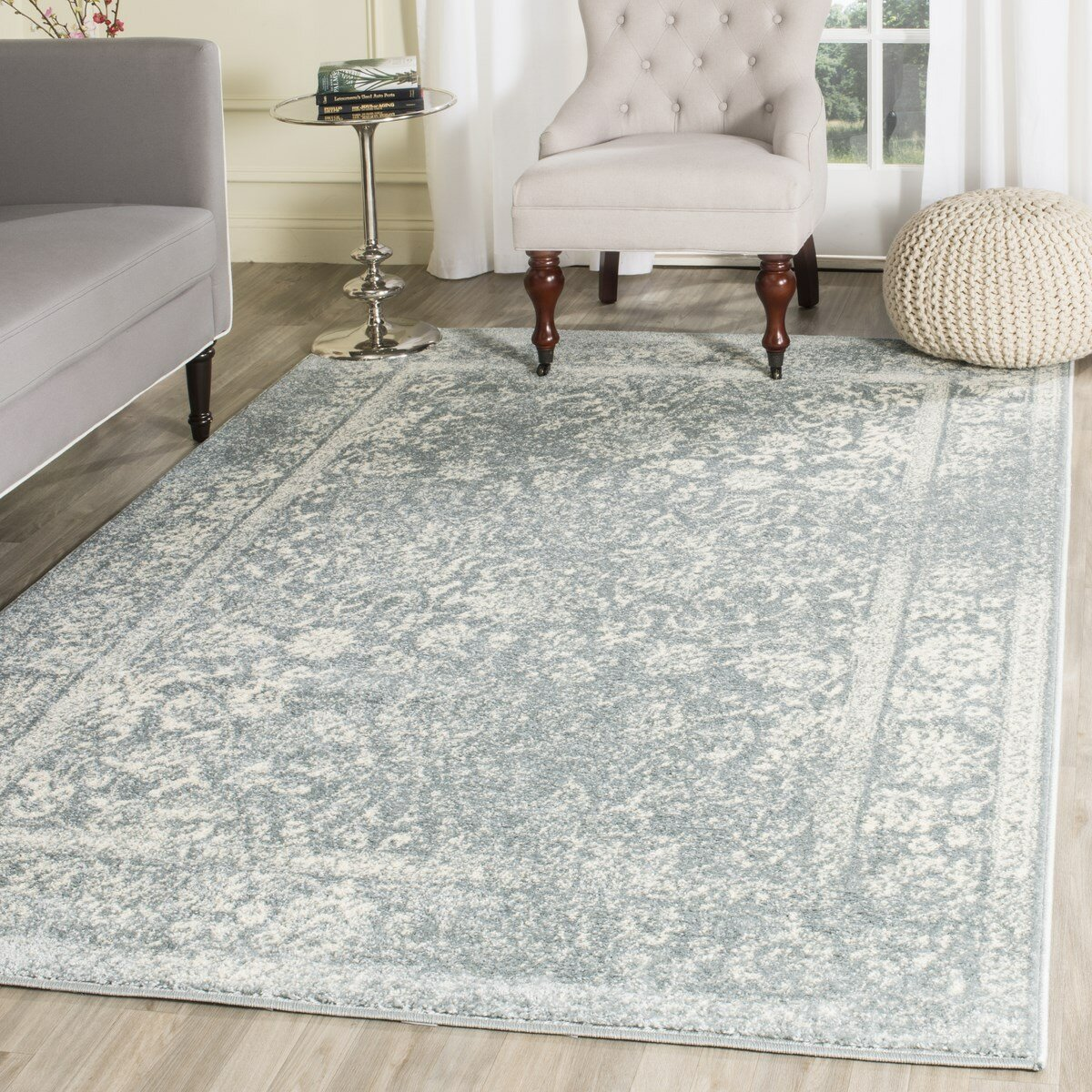 Brookes Blue Gray Off White Ivory Area Rug Reviews