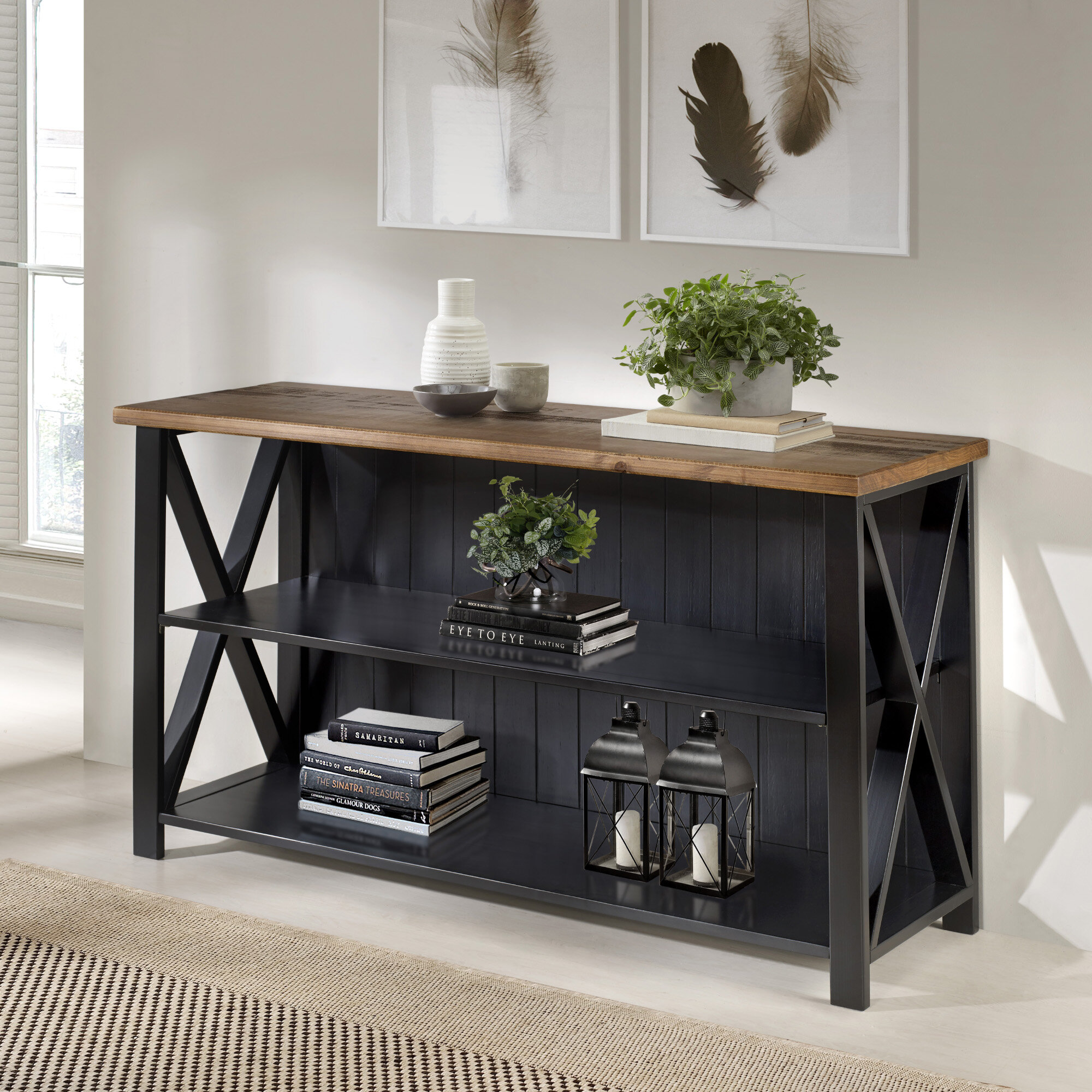 Coastal Farmhouse Selas Solid Wood TV Stand for TVs up to 58