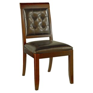 Sammi Genuine Leather Upholstered Dining Chair (Set of 4) Latitude Run