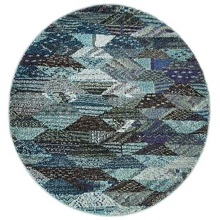 Amaira Powerloomed Blue Area Rug by Bungalow Rose