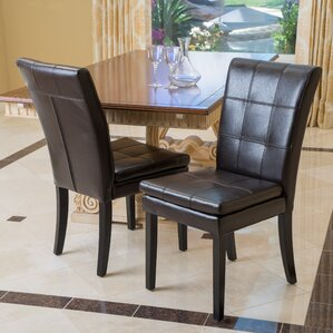 Bairdstown Genuine Leather Upholstered Dining Chair (Set of 2) by Alcott Hill