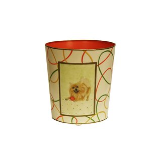 Worlds Away Pomeranian Wastebasket