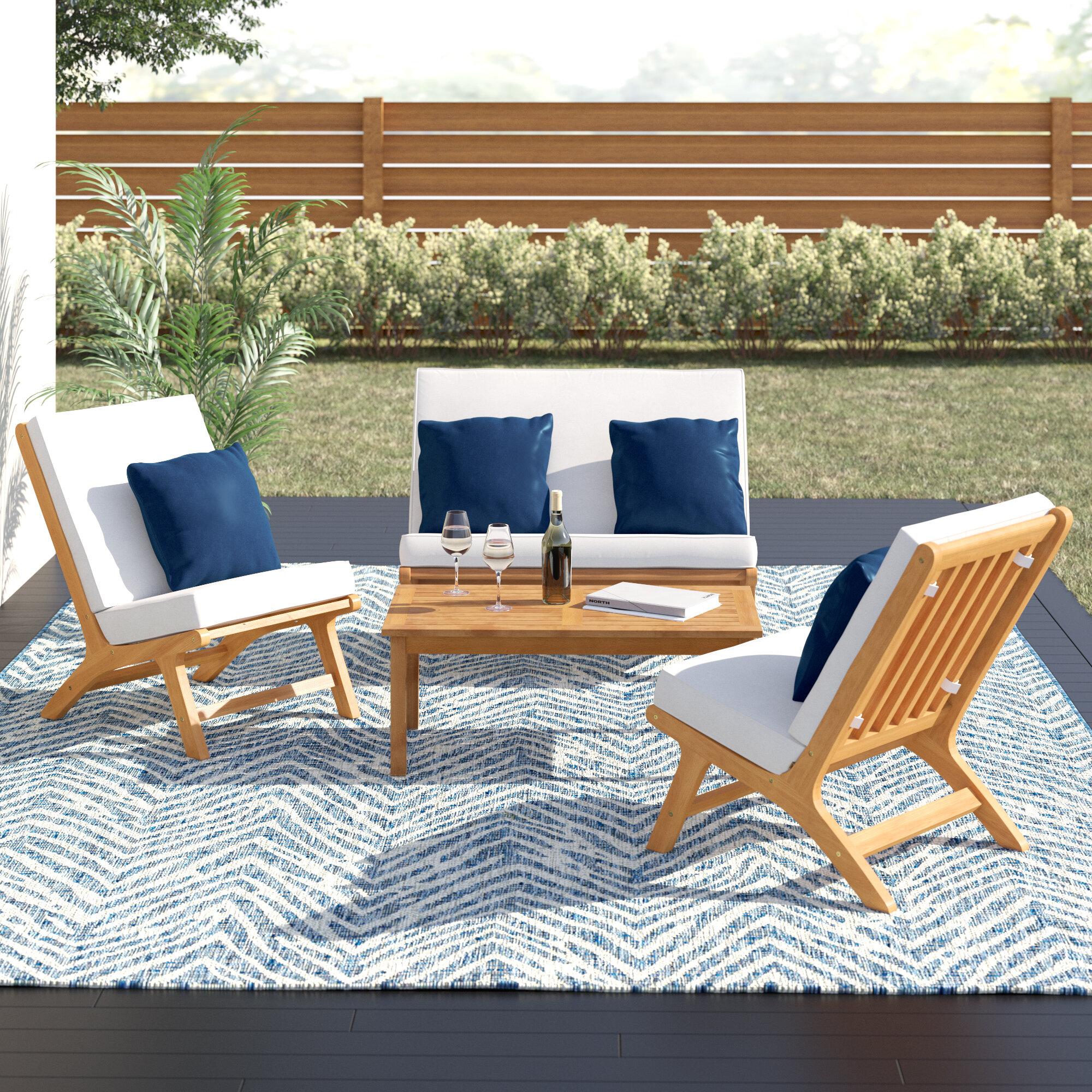 Allmodern Celestia 4 Piece Sofa Seating Group With Cushions Reviews Wayfair