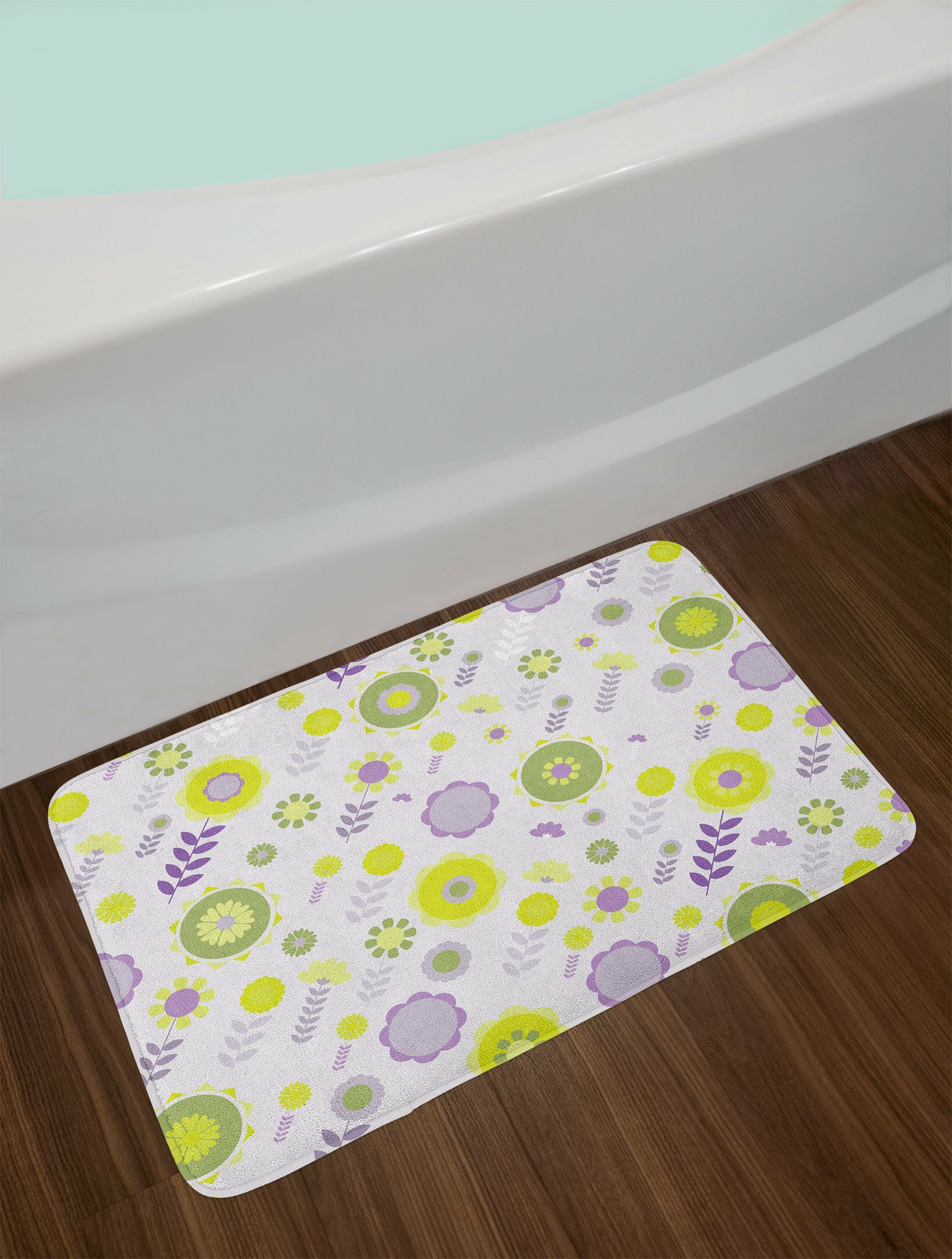 Funky Lilac Le And Olive Green Fl Bath Rug