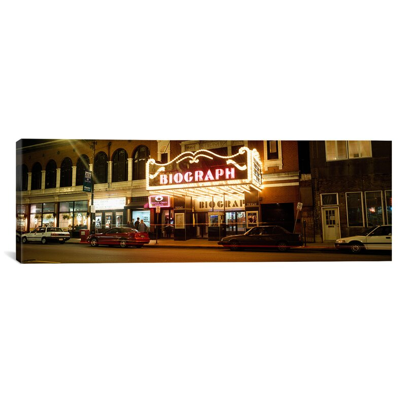 Ebern Designs Panoramic Theater Lit Up At Night Biograph Theater Lincoln Avenue Chicago Illinois Photographic Print On Canvas Wayfair