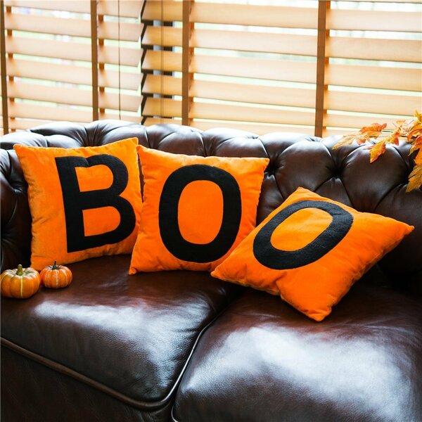 """BOO"" Velvet Throw Pillow"