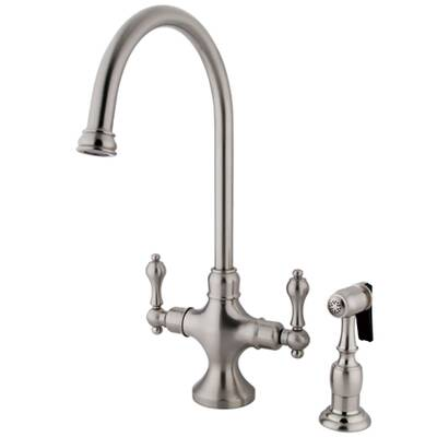 Kingston Brass Vintage Double Handle Kitchen Faucet With Brass Side