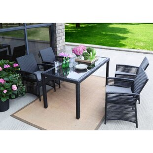 Resaca Backyard 5 Piece Dining Set with Cushions by Ivy Bronx