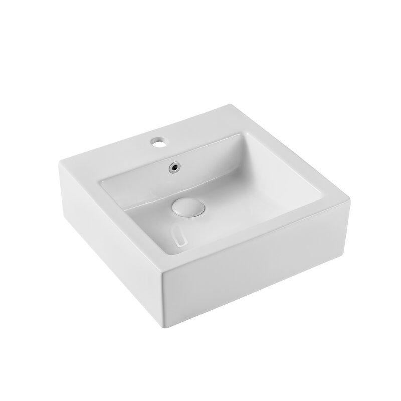 Ojia White Ceramic Square Vessel Bathroom Sink With Overflow Wayfair