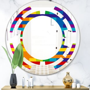 Simple Geometric Pattern Space Modern  Contemporary Frameless Wall Mirror by East Urban Home