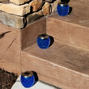 Ann Glass Jar Solar 1 Light LED Step Light (Set of 3)