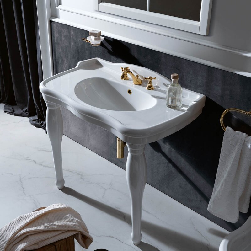 "Contea Ceramic 40"" Console Bathroom Sink with Overflow"