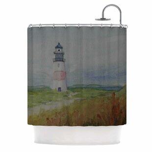 Cyndi Steen Sankaty Lighthouse Single Shower Curtain
