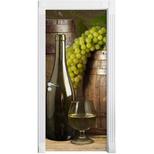 Barrels With Grapes And Wine Door Sticker By East Urban Home