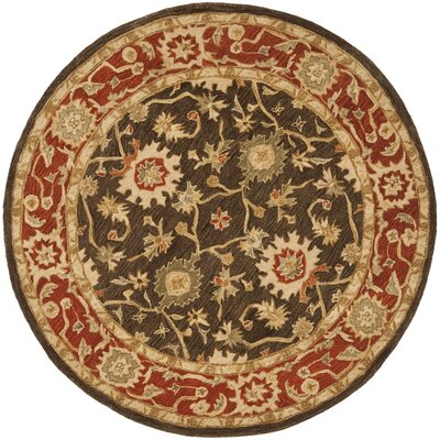 Lark Manor Thao Hand-Tufted Wool Rust Area Rug Rug Size: Round 4'
